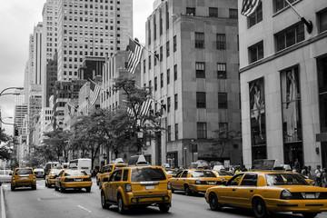New York City Taxi Street USA Black white yellow 2