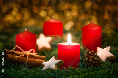 1 Weihnachten.Rote Kerze Brennt Am 1 Advent An Weihnachten Buy This Stock Photo