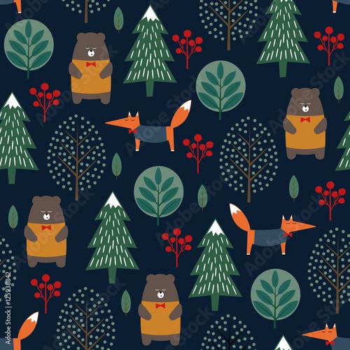 Stoffe zum Nähen Fuchs, Bär, Bäume und Beeren nahtlose Muster auf dunkelblauem Hintergrund. Weihnachten skandinavischen Stil Natur Abbildung. Winterwald mit Tieren und Xmas Tree Design für Textil, Tapete, Stoff.