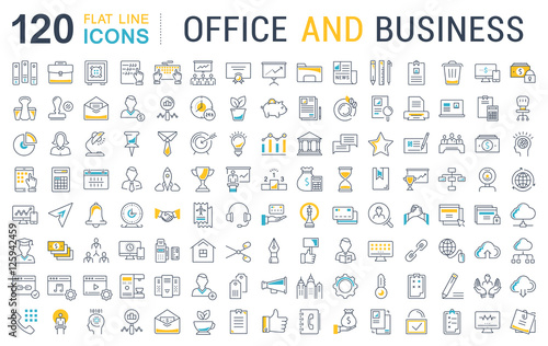 Fotografía  Set Vector Flat Line Icons Office and Business