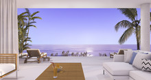 3d Rendering Luxury Villa Living Room Near Beach And Palm Tree With Beautiful Evening Scene From Window