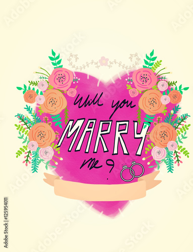 Will You Marry Me Heart On Flower Watercolor Frame Buy This Stock