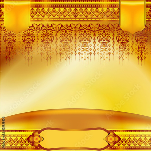 Golden Background Antique Greeting Card Invitation With