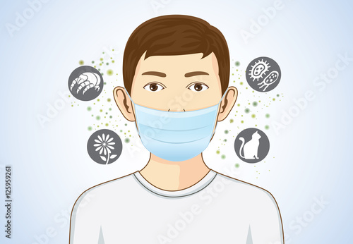 Fototapeta Boy wearing breath mask for protect something that cause allergic reactions include pollen, dust particles and animal, bacteria. obraz