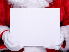 Santa Holding A Small Blank Whiteboard