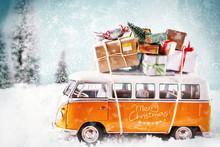 The Xmas Bus In Winter Season