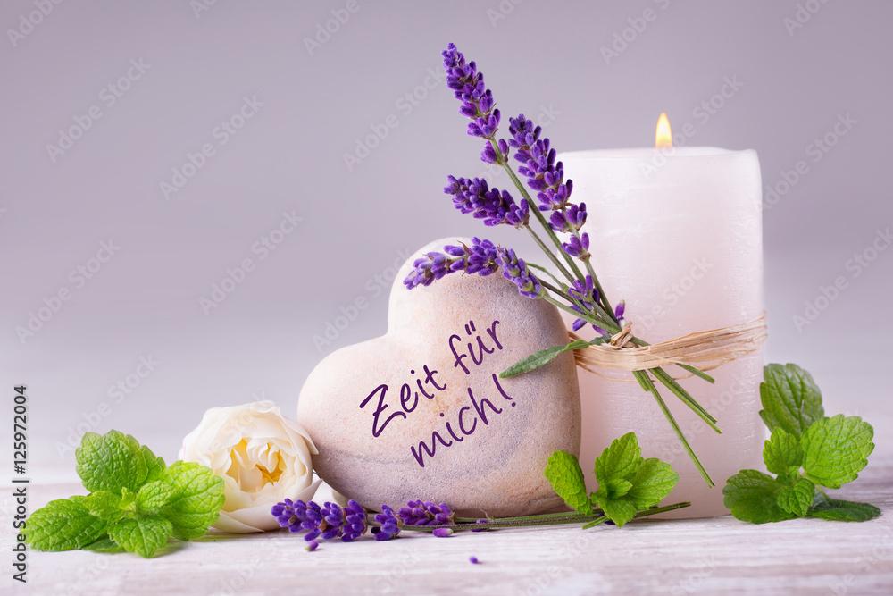 Doppelrollo mit Motiv - Zeit für mich  -  Duftende Deko aus Lavendel, Kräutern, Blüten und Kerze