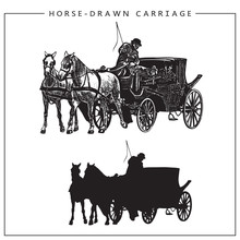 Vector Illustration Of Horse-drawn Carriage, Horse Cart With Coachman And Two Horses. Isolated Monochrome Image And Silhouette.
