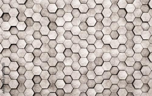 Fototapeta na wymiar Ściana betonowych sześciokątów 3d
