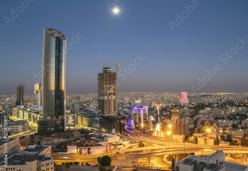Carta da parati Amman Landscape at night - The new downtown of Amman Abdali area night view