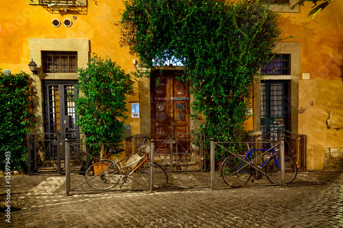 Obrazy na płótnie Canvas Old street at night in Trastevere, Rome, Italy. Trastevere is rione of Rome, on the west bank of the Tiber in Rome, Lazio, Italy. Architecture and landmark of Rome