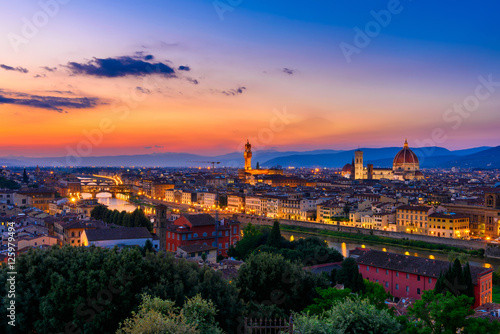 Canvas Prints Florence Sunset view of Florence, Ponte Vecchio, Palazzo Vecchio and Florence Duomo, Italy