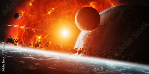 Exploding sun in space close to planet Canvas Print