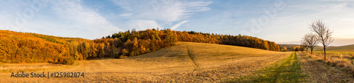 Tuinposter Blauwe hemel Panoramic view of beautiful colorful autumnal landscape
