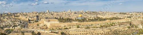 Panoramic view to Jerusalem Old city and the Temple Mount, Dome