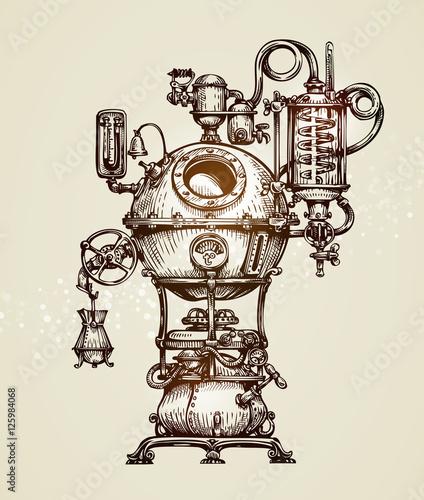 Valokuvatapetti Vintage distillation apparatus sketch