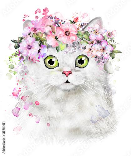 Słodki kociak. Ilustracja kot akwarela. Nadruk z koszulki. Kartka z życzeniami. Plakat Kitten. wieniec z kwiatów i farby splash. Izolowane kota