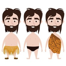 Caveman In Three Different Dresses: Jaguar Skin, Straw Skirt