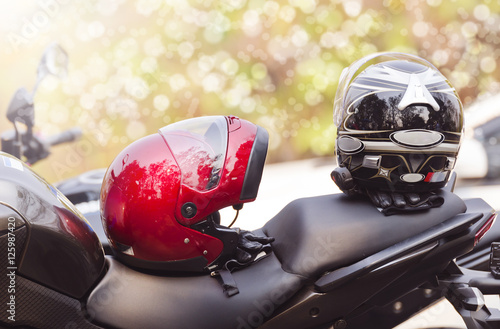 motorcycle and helmets