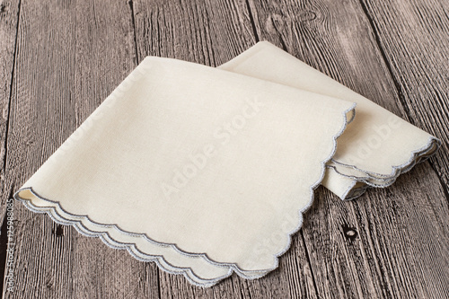 Photo Accessories.   Two handkerchiefs on gray wooden background.