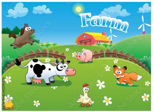 Foto op Canvas Honden Vector illustration of Farm cartoon