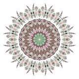 Watercolor ethnic feathers abstract mandala. - 125994063