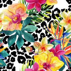 Obraz Tropical watercolor flowers and leaves on animal print