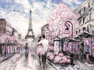 Panel Szklany Architektura Oil Painting, Street View of Paris. .european city landscape