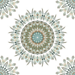 FototapetaWatercolor ethnic feathers abstract mandala.