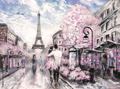 Fototapeta Oil Painting, Street View of Paris. .european city landscape obraz