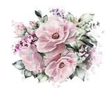 akwarela kwiaty. ilustracja kwiatowa, kwiat w pastelowych kolorach, różowa róża. gałąź kwiaty na białym tle. Liść i pąki. Ładny skład na ślub lub kartkę z życzeniami. Farba rozbryzgowa - 125996098