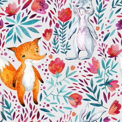 Cotton fabric Watercolor ornate flowers and cute fox