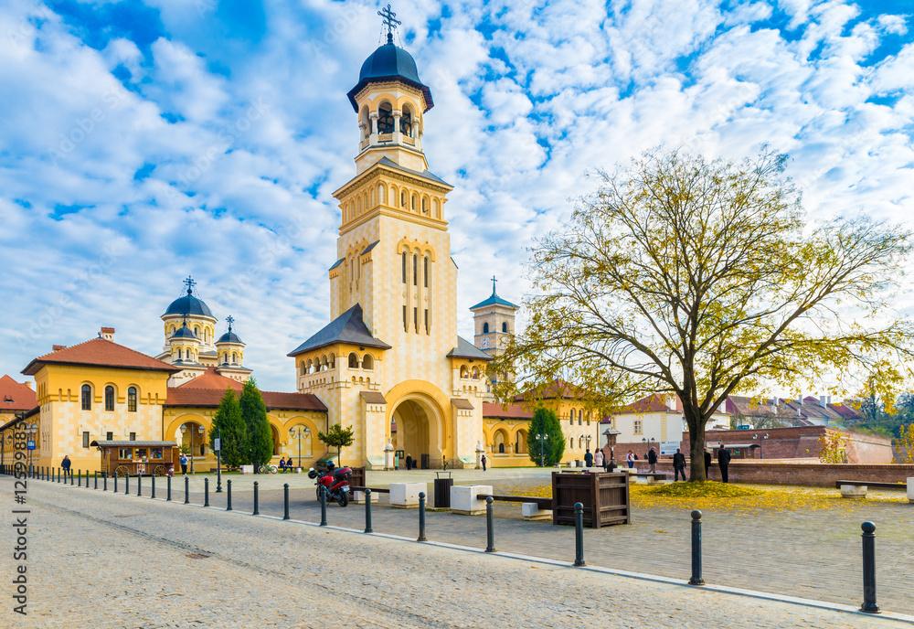 Fototapety, obrazy: The Coronation Orthodox Cathedral  and Roman Catholic cathedral in Fortress Of Alba Iulia, Transylvania, Romania.