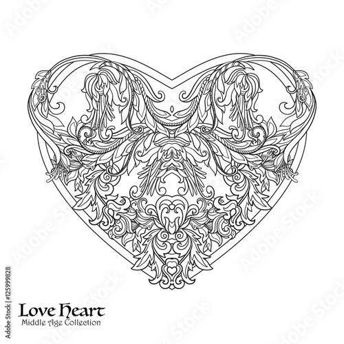 Decorative Love Heart. Coloring book for adult. Outline ...