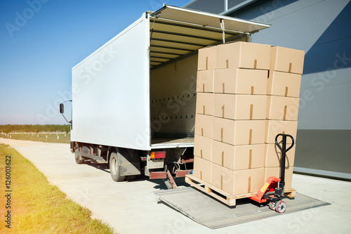 Fotografie, Obraz  Truck carrying cargo for export