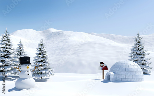 Canvas Print Arctic landscape, snow field with igloo and snowman in Christmas holiday, North