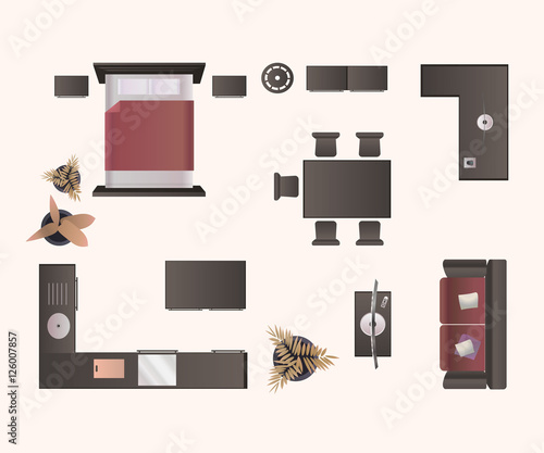 Modern Furniture Isolated On White Background Design