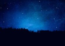 Nachthimmel Mit Sternen Und Wa...