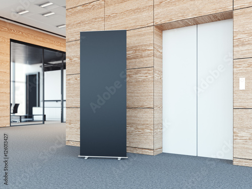 Fotografie, Obraz  Blank roll up bunner in modern office lobby. 3d rendering