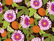Passionflower Floral Seamless Pattern. Pasiiflora Flower Backgro