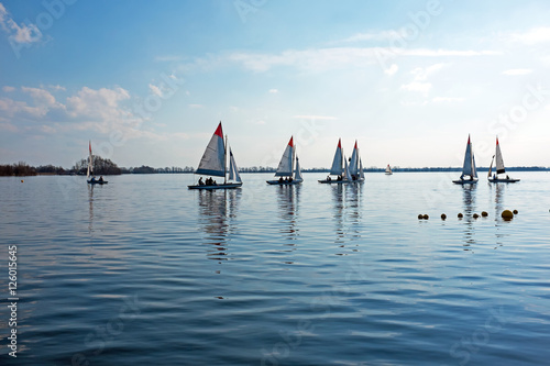 Foto op Canvas Zeilen Sailing on the Loosdrechtse plassen in the Netherlands