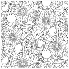 Floral Pattern. Flower Background. Coloring Book For Adult. Outline Drawing Coloring Page.