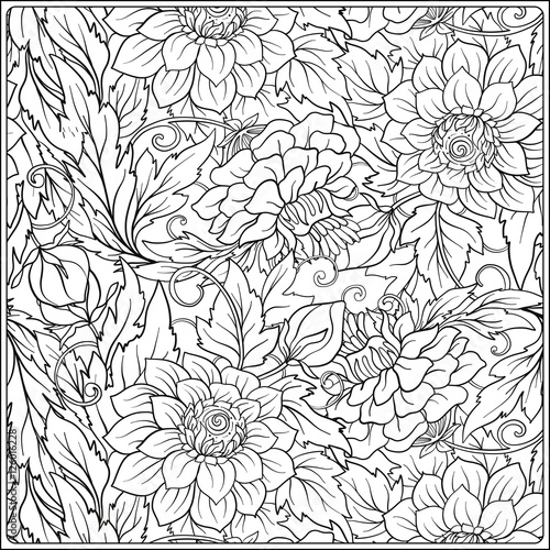 Floral pattern. Flower background. Coloring book for adult ...
