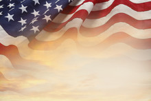 USA Flag And Sky