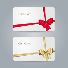 White Gift Card With Red, Golden Bow And Ribbons. Vector Template For Design Invitation And Credit Or Discount Card. Isolated From A Background.