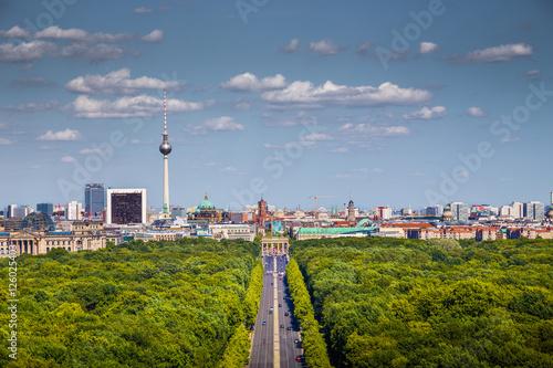 Fotobehang Berlijn Berlin skyline with Tiergarten park in summer, Germany