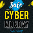 Cyber Monday sale banner on black patterned background, vector