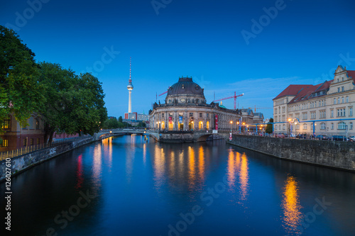 Poster Berlin Berlin Museum Island with TV tower in twilight, Berlin, Germany