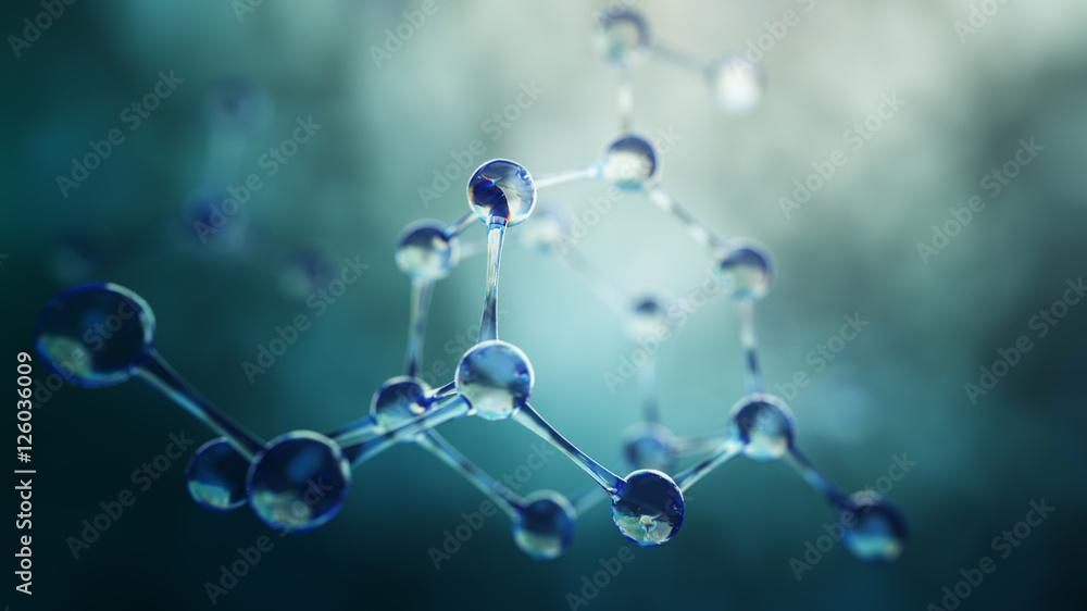 Fototapety, obrazy: 152874 3d illustration of molecule model. Science background wit