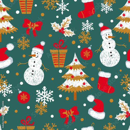 Stoffe zum Nähen Weihnachten und Neujahr Musterdesign mit Doodle Schneemänner, Tannen, Geschenke und Schneeflocken. Vektor-Urlaub-Hintergrund.